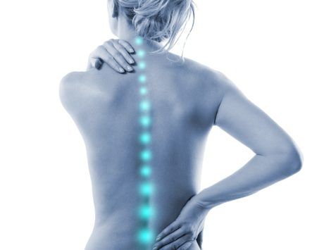 a woman's back with the spine highlighted